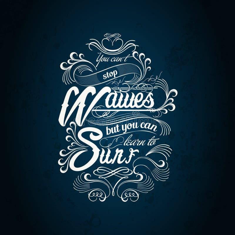 Diseño de la tipografía de la resaca de las ondas libre illustration