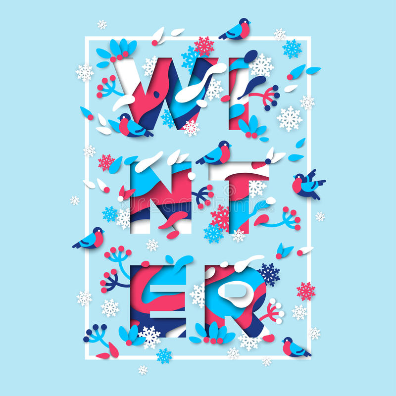 Diseño de la tipografía del invierno con el marco cuadrado libre illustration