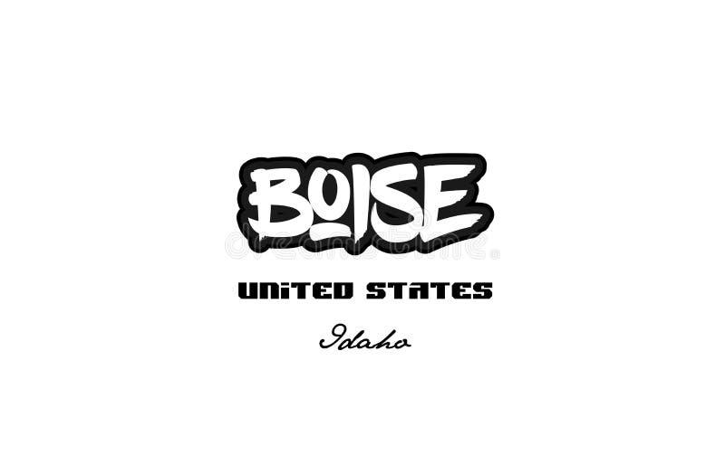 Diseño de la tipografía de la fuente del graffitti de la ciudad de Estados Unidos boise Idaho stock de ilustración
