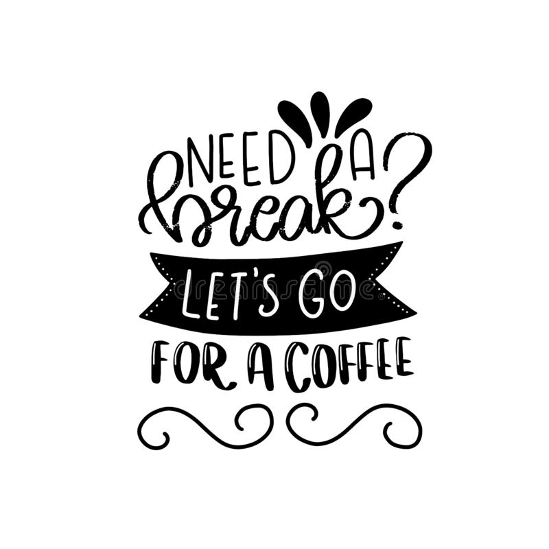 Diseño de la tipografía de las letras del café Mano dibujada poniendo letras a frase Decoraci?n moderna de la caligraf?a de la mo libre illustration