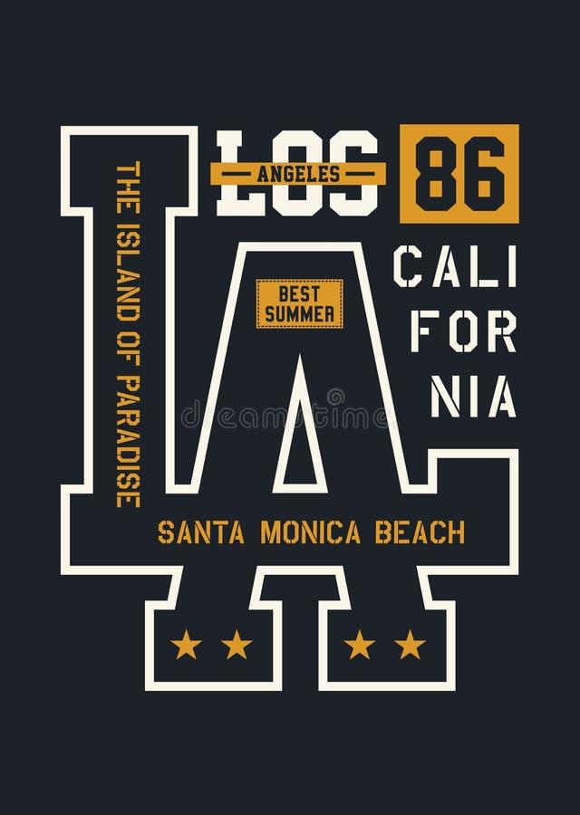 Diseño de la tipografía de Los Ángeles, imagen del vector stock de ilustración
