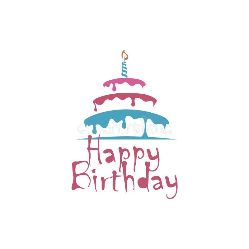 Diseño de la torta de cumpleaños stock de ilustración