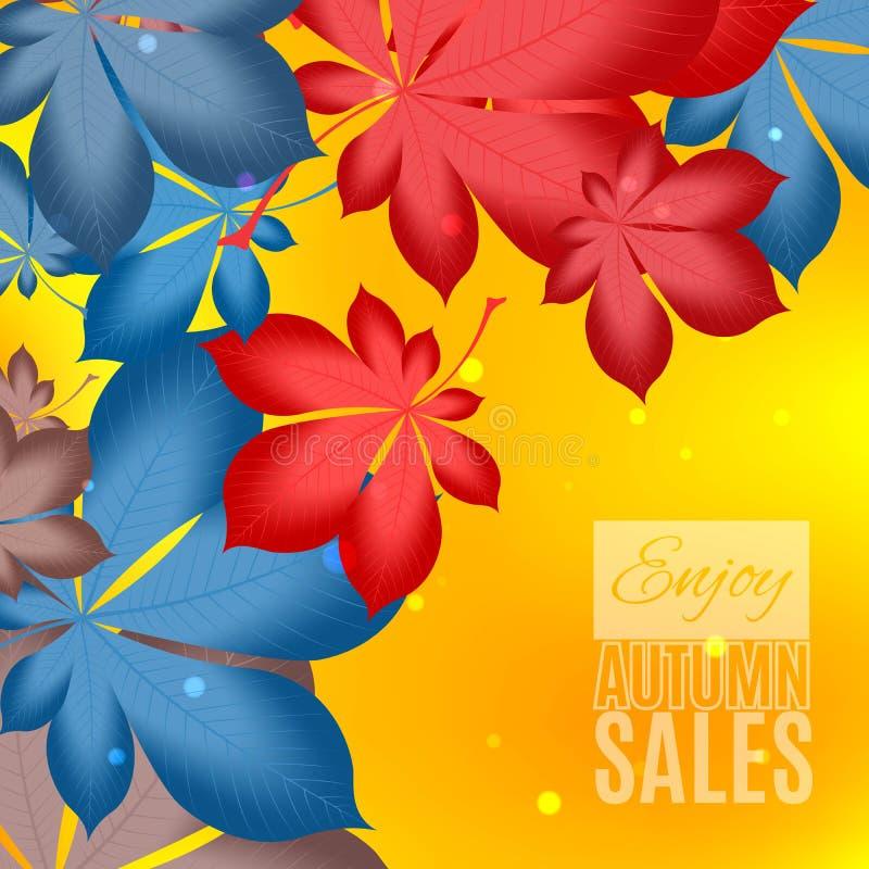 Diseño de la venta de la caída Goce de la bandera de las ventas del otoño Autumn Leaves Fondo caido de las hojas para las ventas  stock de ilustración