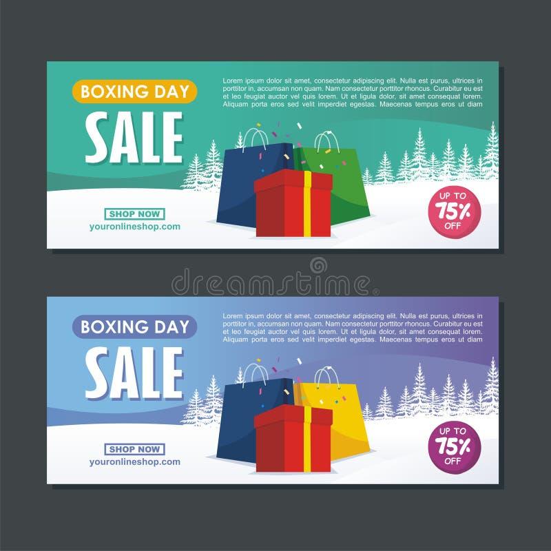 Diseño de la venta del San Esteban con las cajas de regalo, la bolsa de papel, y el paisaje nevoso stock de ilustración