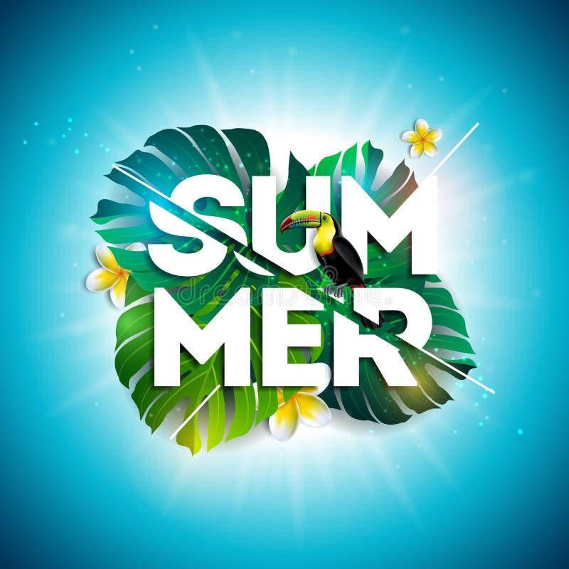 Diseño de la venta del verano con la flor, el tucán y las hojas exóticas en fondo azul Ejemplo floral tropical del vector con stock de ilustración