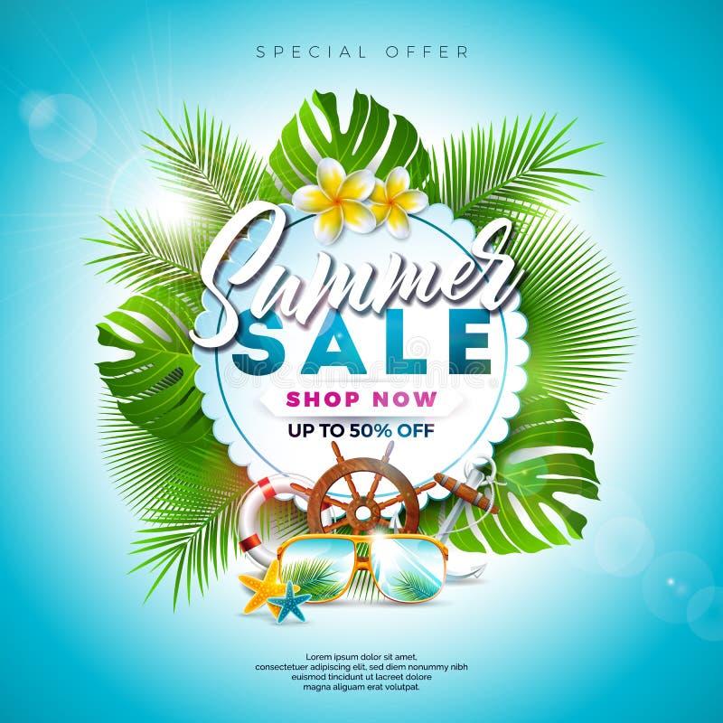 Diseño de la venta del verano con la flor, los elementos del día de fiesta de la playa y las hojas exóticas en fondo azul Vector  stock de ilustración