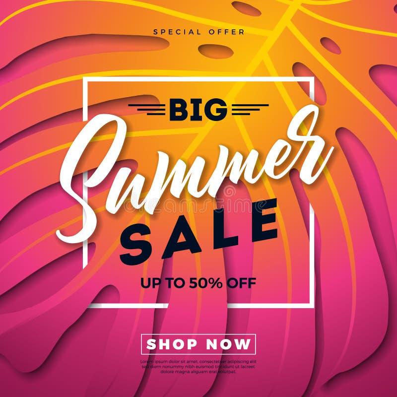 Diseño de la venta del verano con las hojas de palma exóticas y letra de la tipografía en fondo exótico de las hojas de Phylodend stock de ilustración