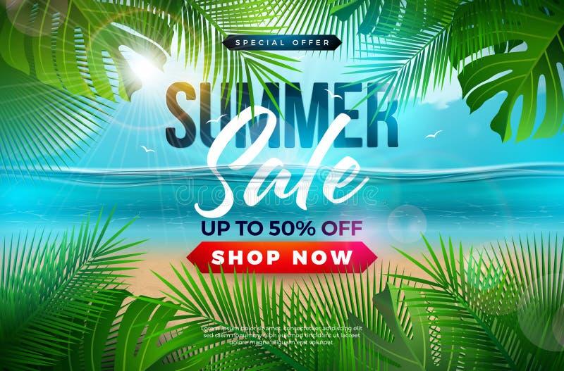 Diseño de la venta del verano con las hojas de palma y letra de la tipografía en fondo azul del paisaje del océano Vector floral  ilustración del vector