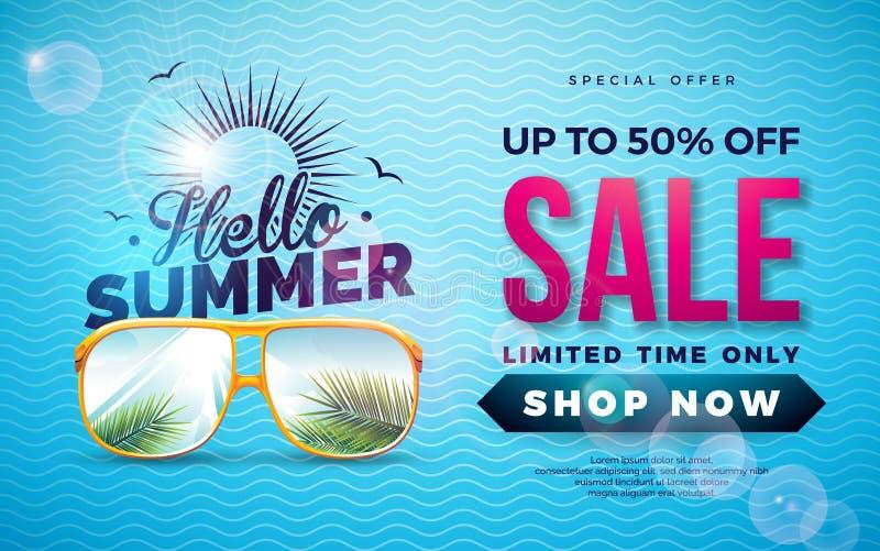 Diseño de la venta del verano con la letra de la tipografía y las hojas de palma exóticas en los vidrios de Sun en fondo azul Vec stock de ilustración