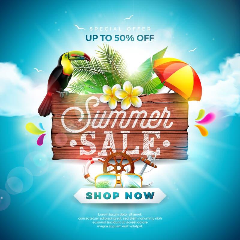 Diseño de la venta del verano con los elementos del día de fiesta de la flor, del tucán y de la playa en fondo azul Vector floral libre illustration