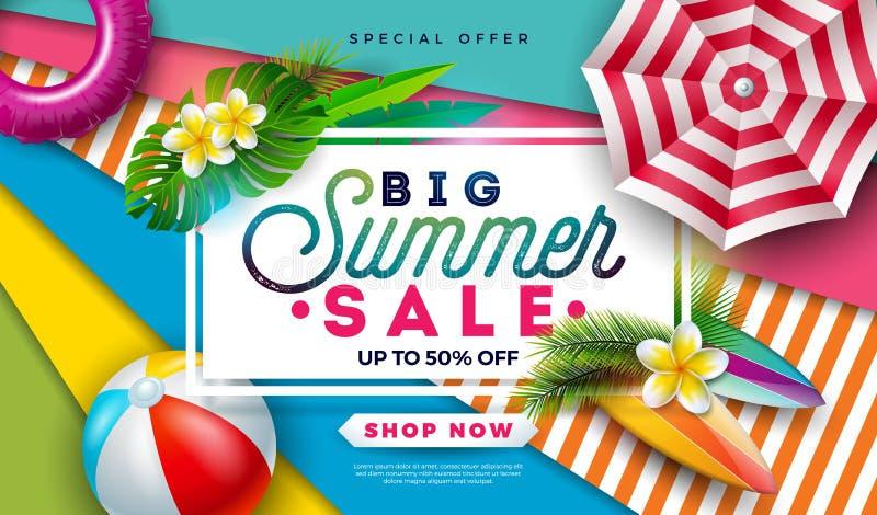 Diseño de la venta del verano con la pelota de playa, la sombrilla y las hojas de palma exóticas en fondo colorido Vector tropica libre illustration