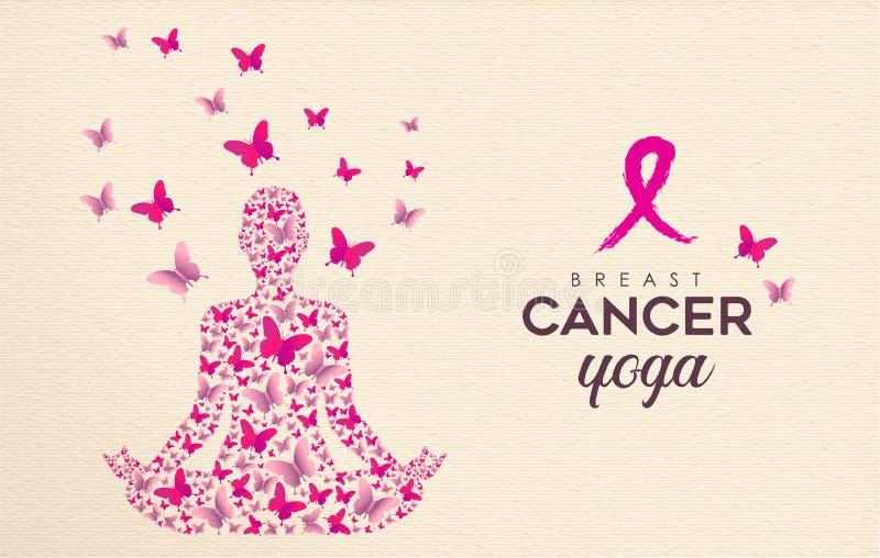 Diseño de la yoga de la mariposa del rosa de la conciencia del cáncer de pecho stock de ilustración