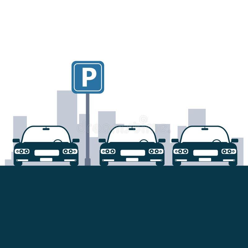 Diseño de la zona de estacionamiento stock de ilustración