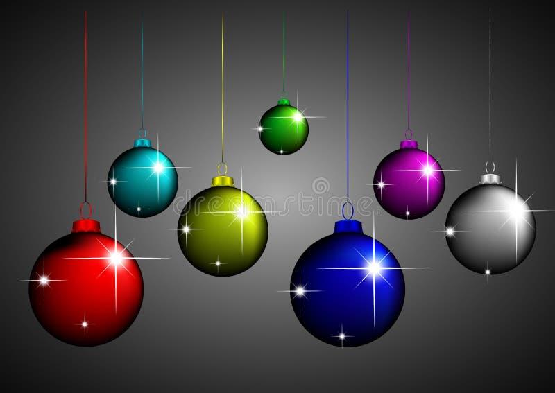 Diseño de las bolas de la Navidad stock de ilustración