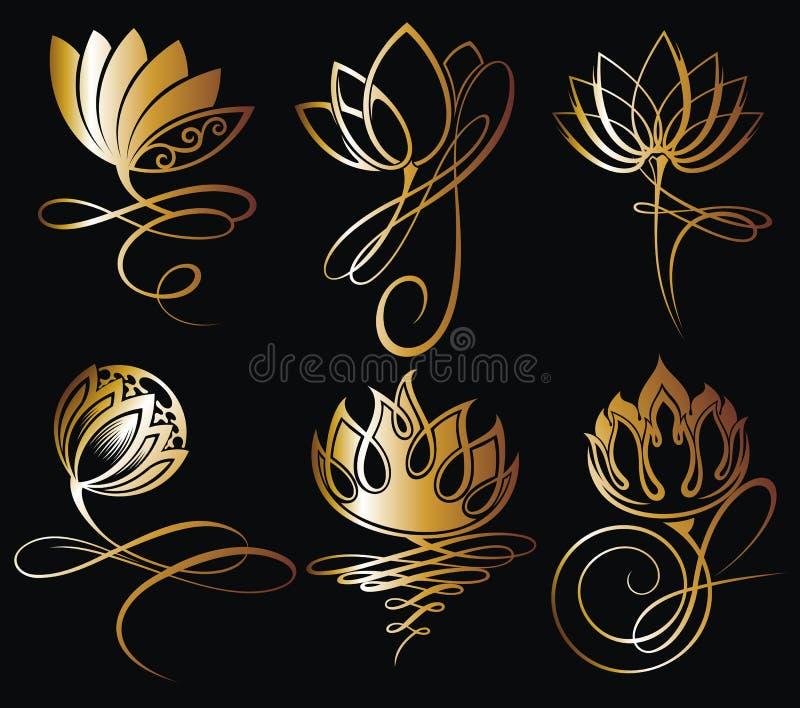 Diseño de las flores de loto del oro para el balneario ilustración del vector