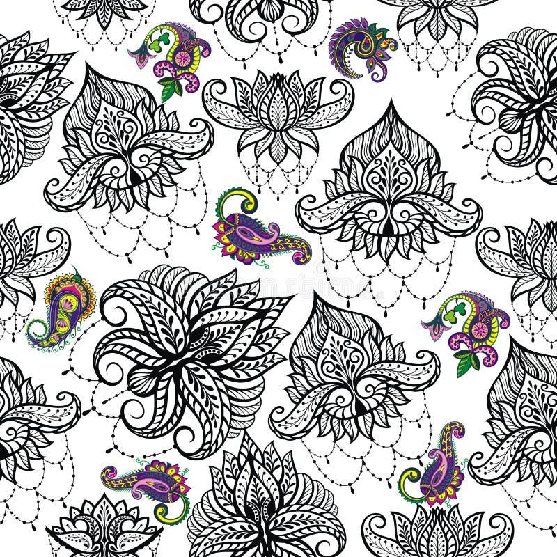 Diseño de las flores de Lotus del vector de la belleza Modelo inconsútil stock de ilustración