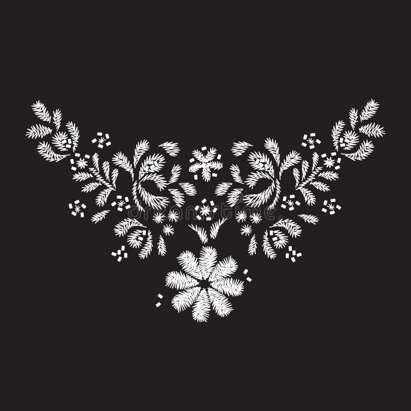 diseño de las ilustraciones del bordado de la flor blanca para la ropa del escote stock de ilustración