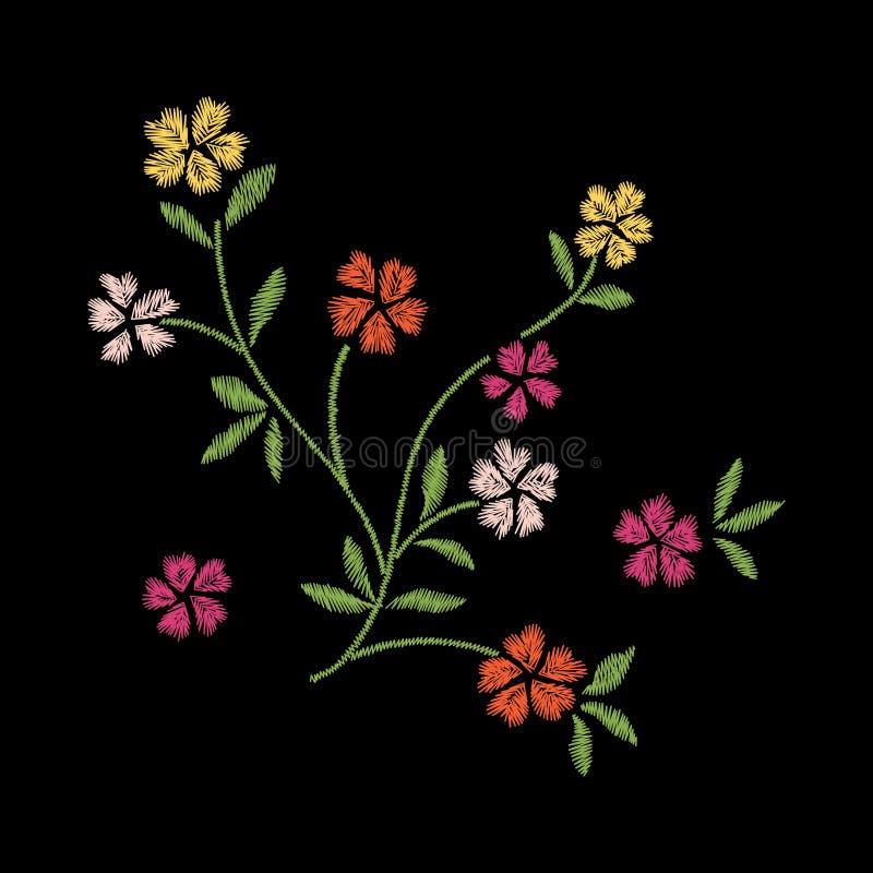 diseño de las ilustraciones del bordado de la flor para la ropa, floral aislada ilustración del vector