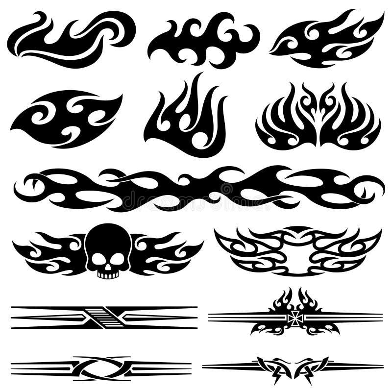 Diseño de las llamas de la motocicleta del vehículo Gráficos de vector del coche de competición libre illustration