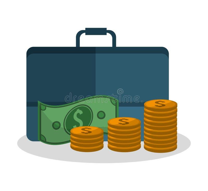 Diseño de las monedas y de la maleta de las cuentas stock de ilustración