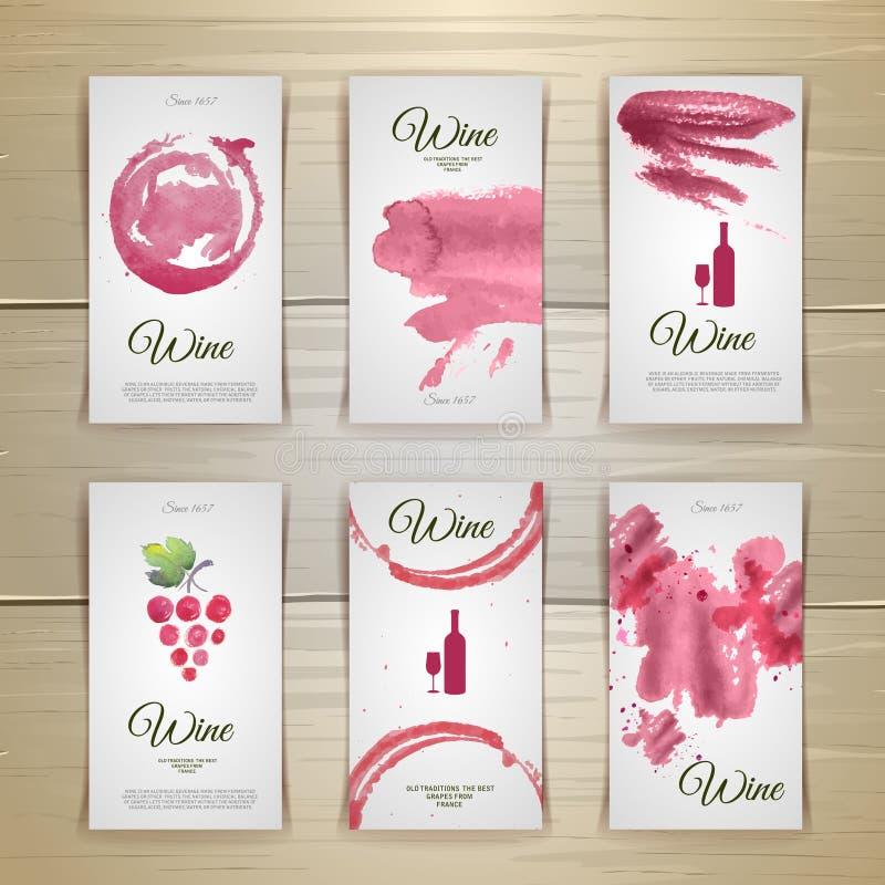 Diseño de las tarjetas y de las etiquetas del vino del arte stock de ilustración
