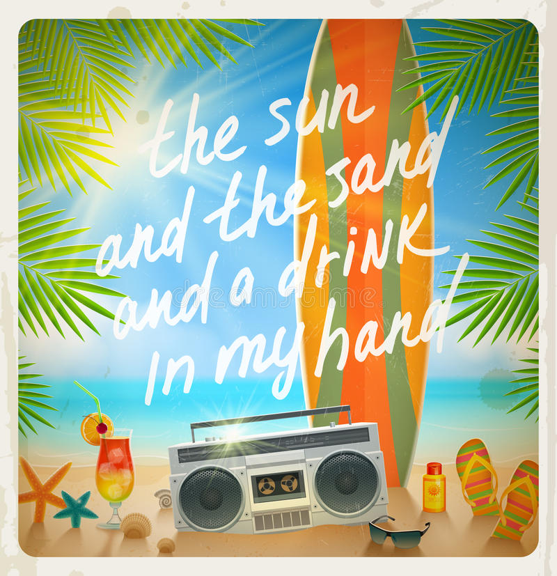 Diseño de las vacaciones de la playa del verano stock de ilustración