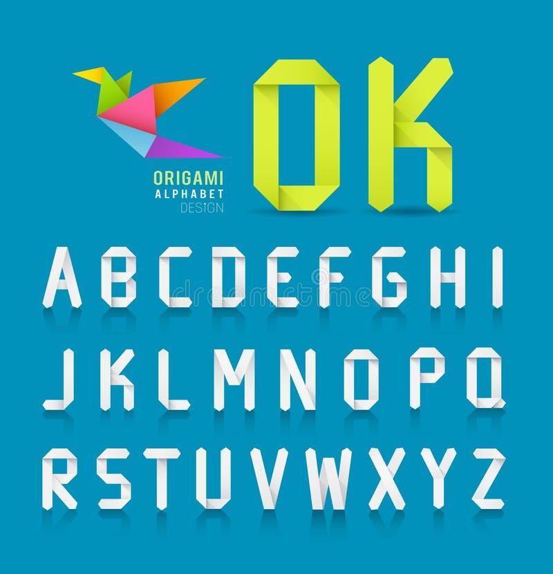 Diseño de letra de papel del alfabeto de la papiroflexia stock de ilustración