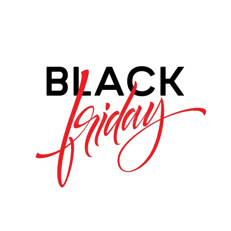 Diseño de letras de Black Friday para hacer publicidad, las banderas, los prospectos y los aviadores Ilustración del vector stock de ilustración