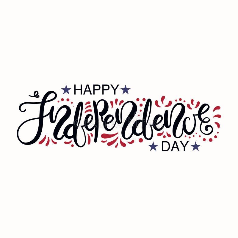 Diseño de letras de Día de la Independencia de los E.E.U.U. libre illustration