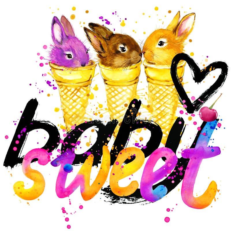 Diseño de letras de la camiseta Gráficos dulces de la camiseta del conejo ilustración del vector