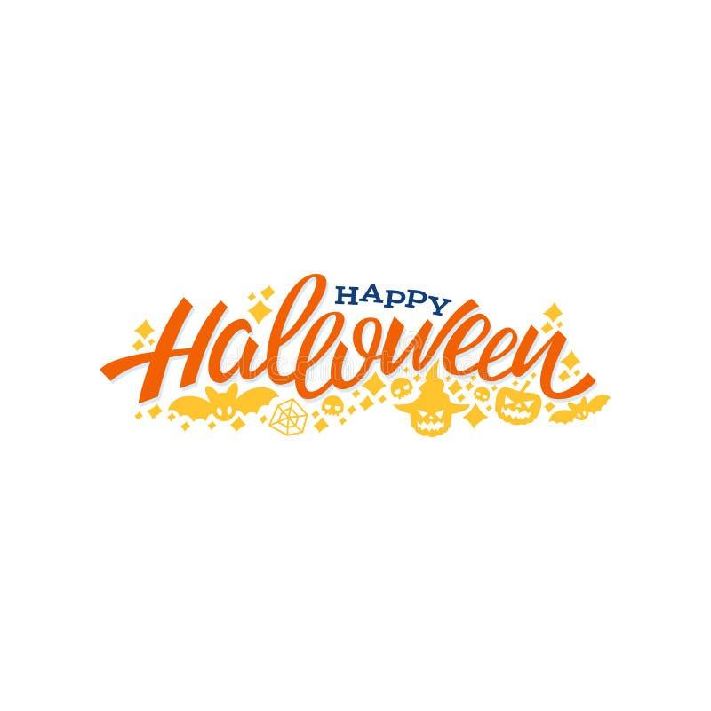 Diseño de letras del feliz Halloween Ejemplo del vector del saludo libre illustration