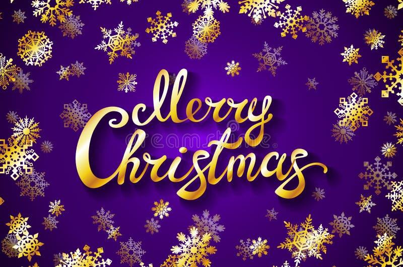 Diseño de letras del oro de la Feliz Navidad que brilla fondo violeta con el ejemplo de oro EPS 10 del vector del copo de nieve libre illustration