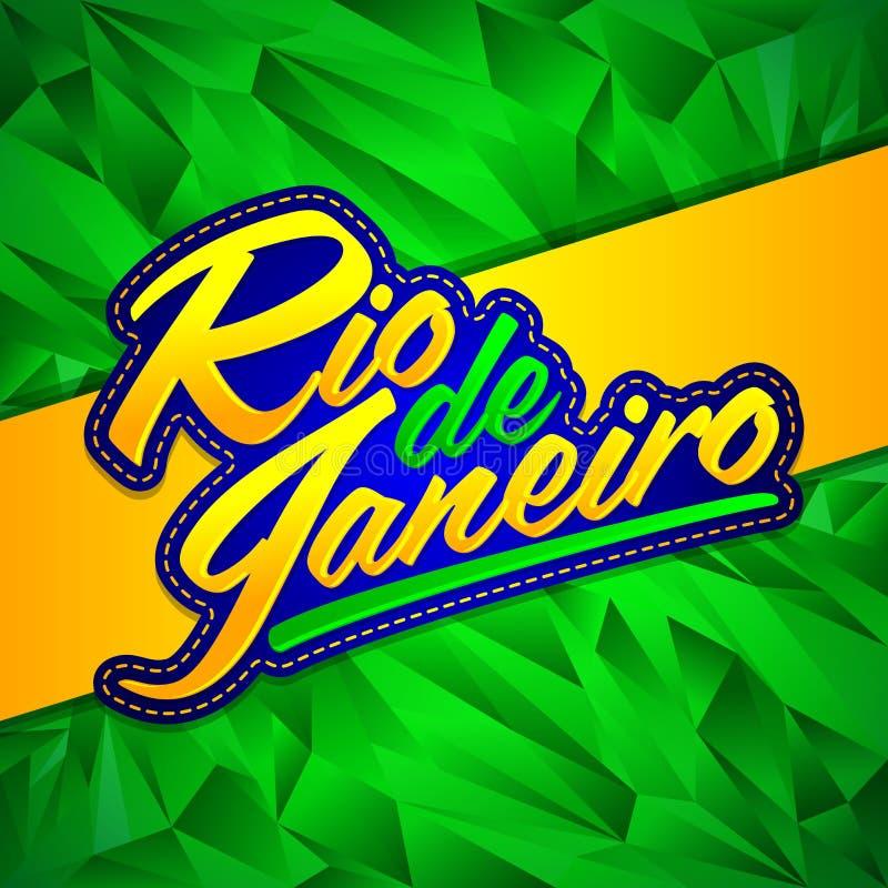 Diseño de letras del vector de Rio de Janeiro con colores de la bandera y fondo brasileños del fractal ilustración del vector