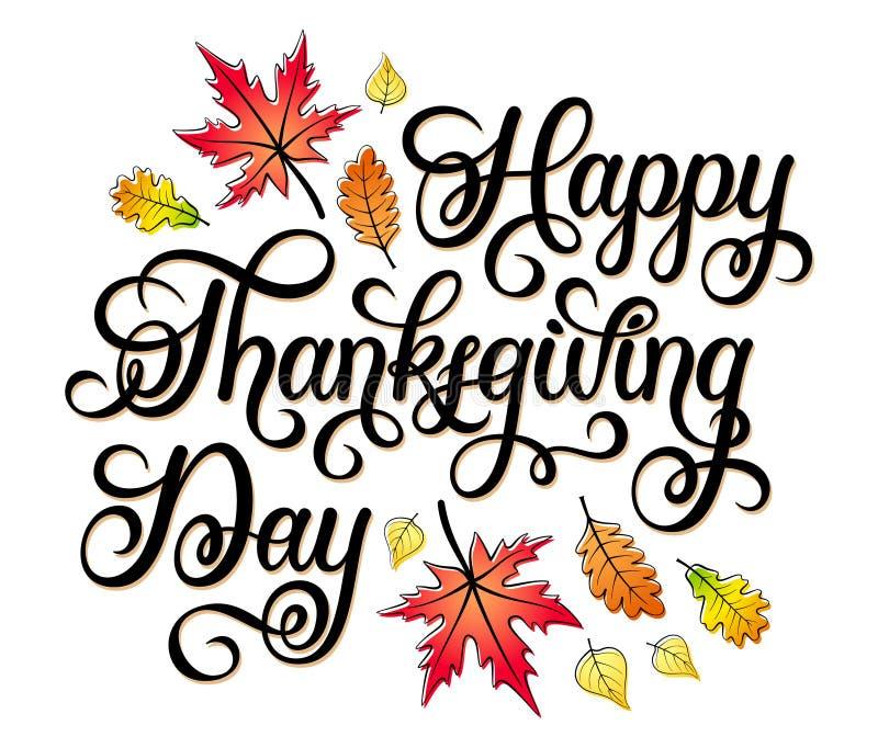 Diseño de letras dibujado mano del vector del día de la acción de gracias con las hojas de otoño stock de ilustración