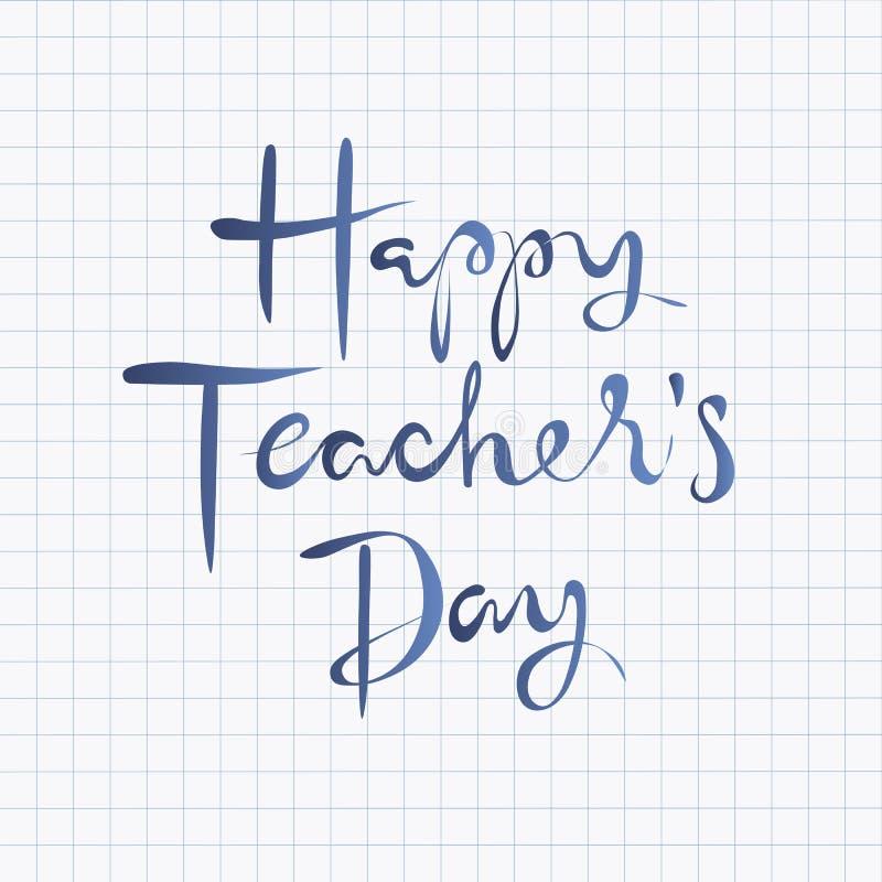 Diseño de letras feliz de día de los profesores stock de ilustración