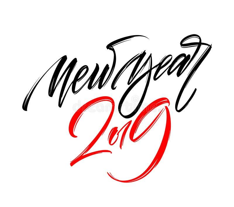Diseño de letras de la escritura de la mano de la Feliz Año Nuevo 2019 Ilustración del vector ilustración del vector
