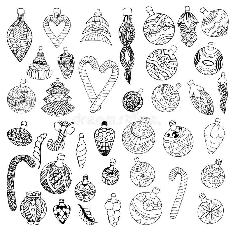 Diseño de Lineart de bolas de la Navidad stock de ilustración