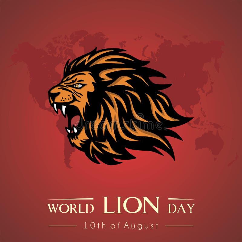 Diseño de Lion Day Vector del mundo stock de ilustración