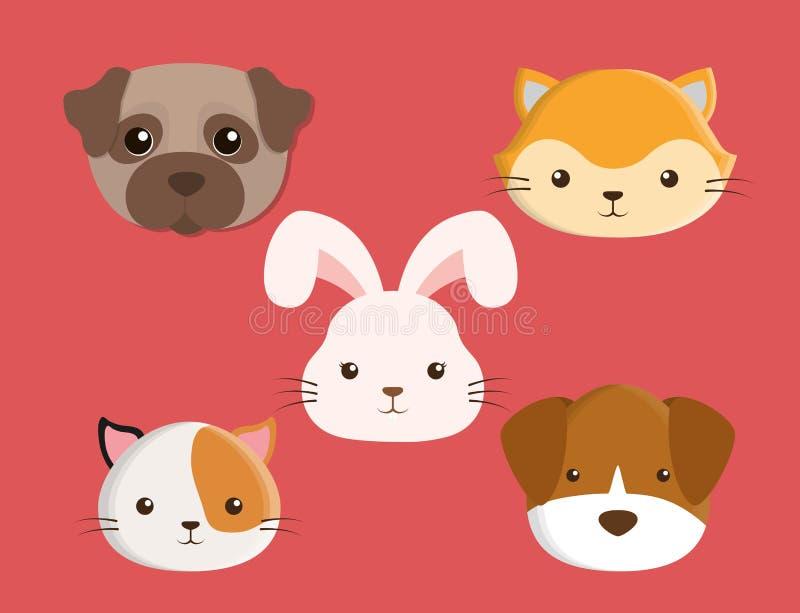 Diseño de los animales domésticos del conejo de los perros de los gatos ilustración del vector