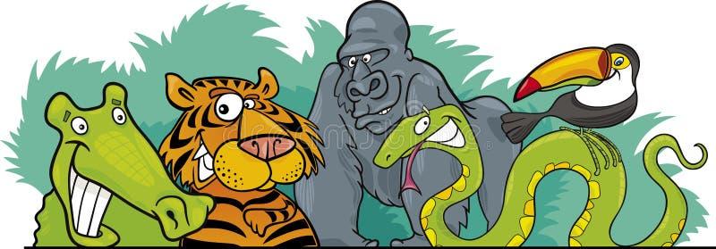 Diseño de los animales salvajes de la selva de la historieta libre illustration
