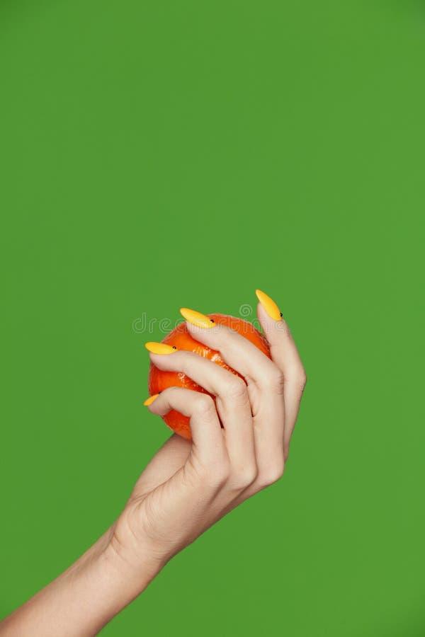 Diseño de los clavos Manos con la manicura de la moda que sostiene la naranja foto de archivo libre de regalías