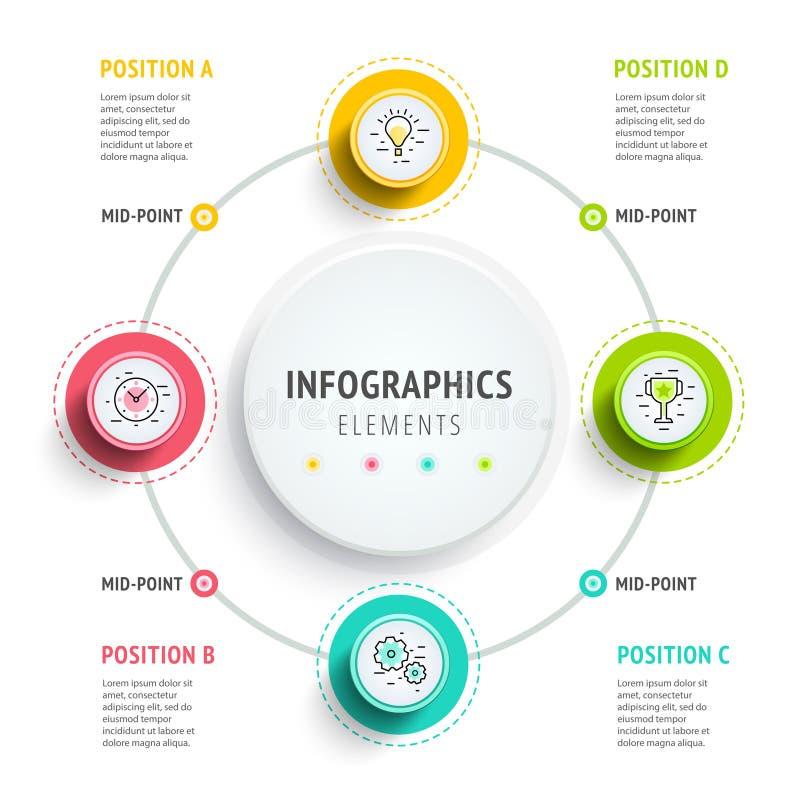Diseño de los elementos del infographics del círculo Flujo de trabajo abstracto del negocio libre illustration