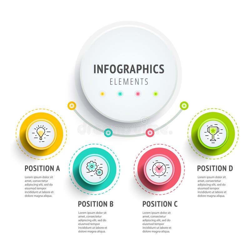 Diseño de los elementos del infographics del círculo Flujo de trabajo abstracto del negocio ilustración del vector