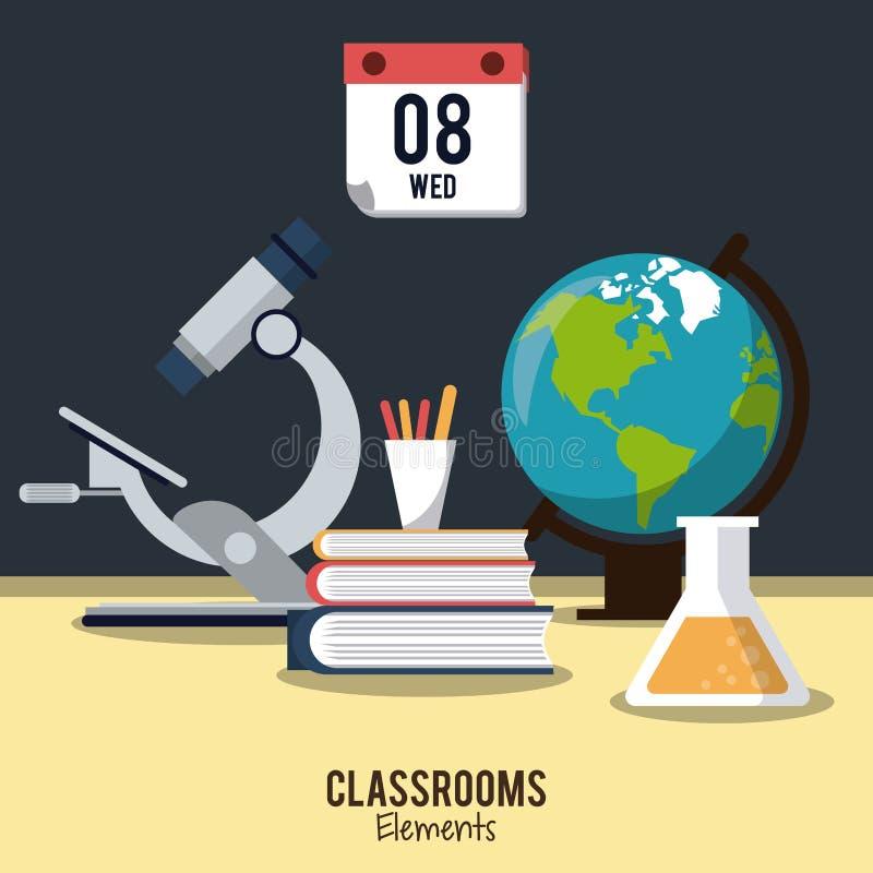 Diseño de los elementos de la sala de clase libre illustration