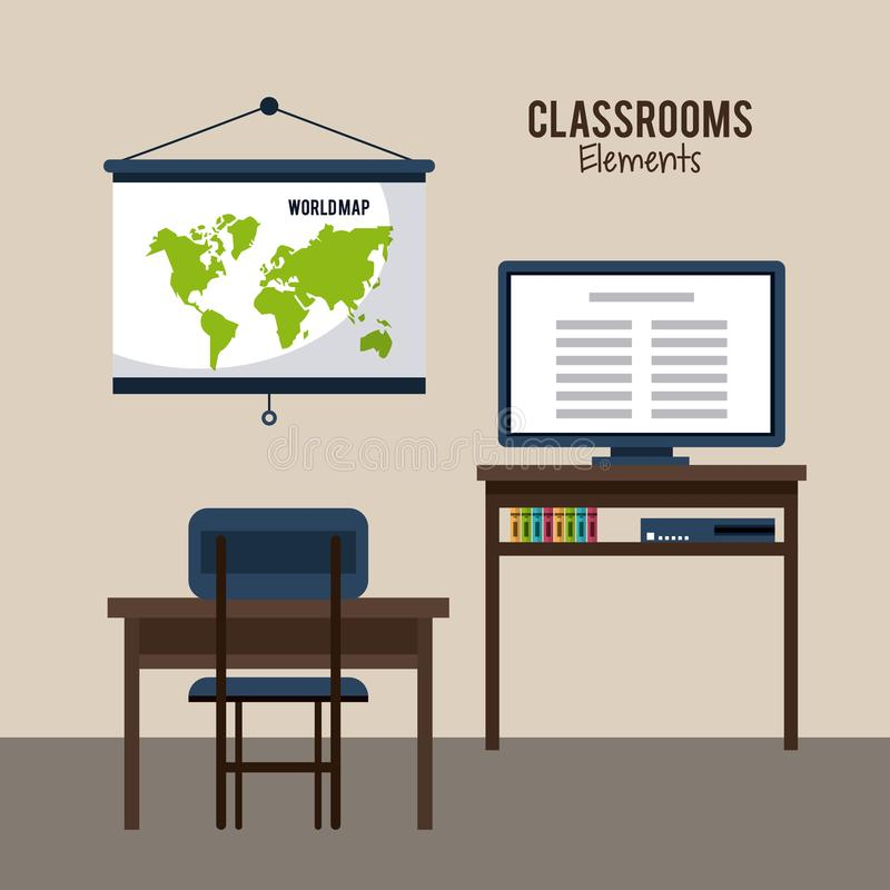 Diseño de los elementos de la sala de clase stock de ilustración