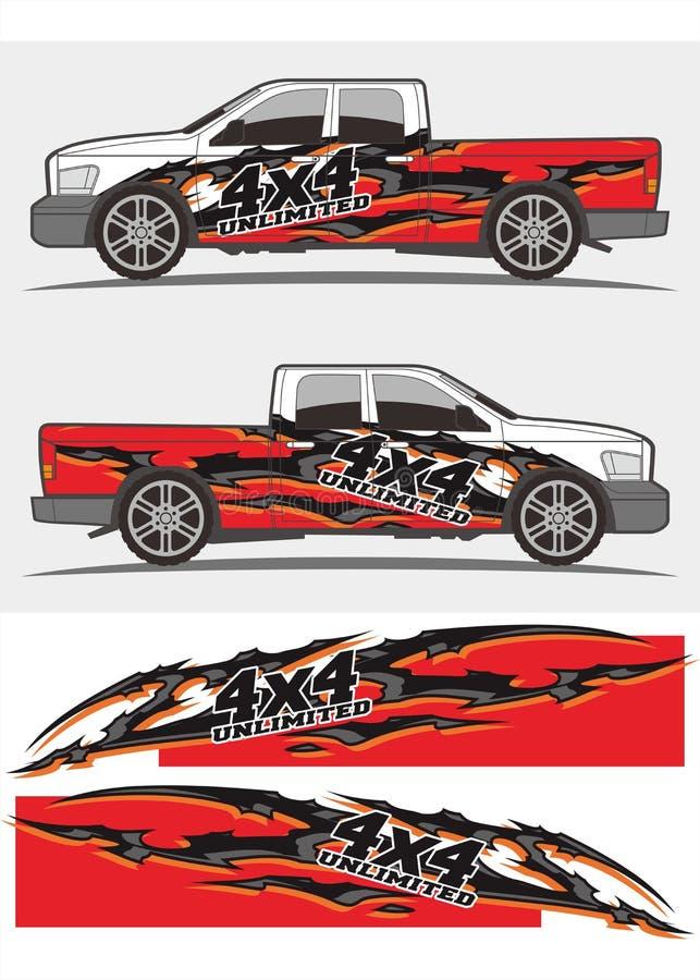 Diseño de los equipos de los gráficos de la etiqueta del camión y del vehículo ilustración del vector