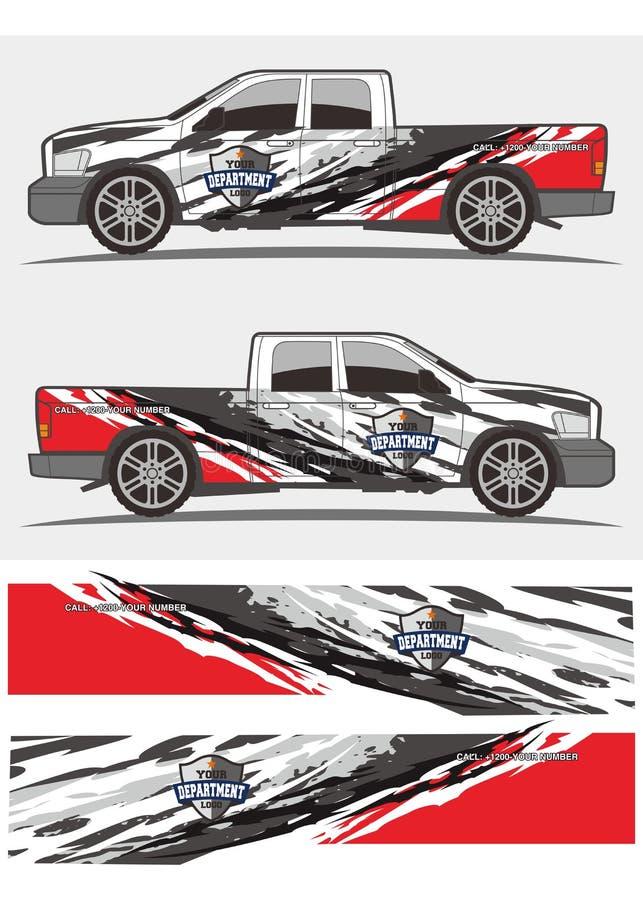 Diseño de los equipos de los gráficos de la etiqueta del camión y del vehículo stock de ilustración