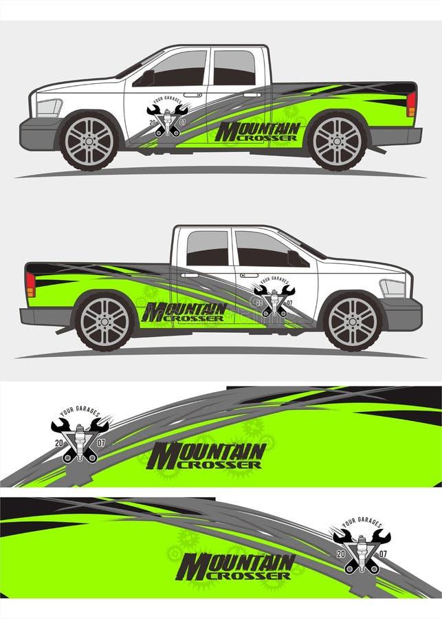 Diseño de los equipos de los gráficos de las etiquetas engomadas del camión y del vehículo ilustración del vector