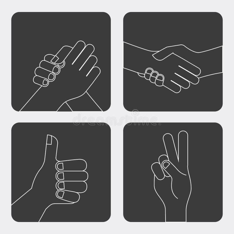Diseño de los gestos de mano ilustración del vector