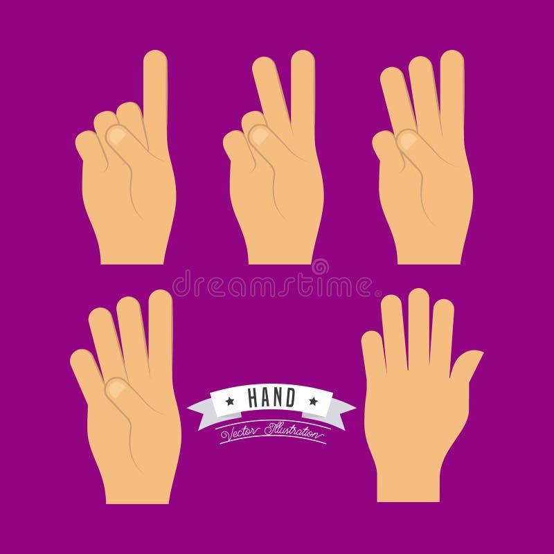 Diseño de los gestos de mano stock de ilustración